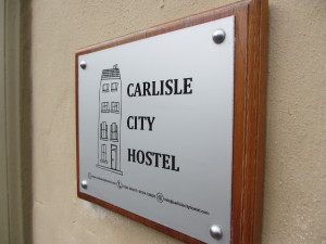 Our hostel sign